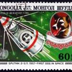 Postage stamp Mongolia 1982 Sputnik 2 and Laika — Stock Photo #74241667