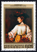 Postage stamp Mongolia 1981 Hendrickje like Flora, by Rembrandt — Stock Photo
