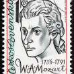 Постер, плакат: Postage stamp Czechoslovakia 1981 Wolfgang Amadeus Mozart Compo