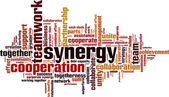 Synergy word cloud — Stock Vector