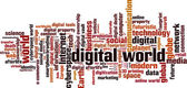 Digital world word cloud — Stock Vector