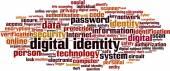 Digital identity word cloud — Stock Vector