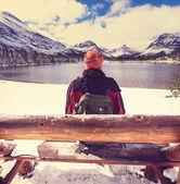 Man on  lake — Stock Photo