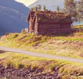 Wooden fishing cabin in   Norway — Stock Photo