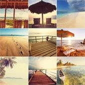 Collage with tropical beach — Stock Photo