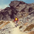 Hiker walking on mountain — Stock Photo #76035513