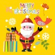 Christmas set - Santa Claus, emblems and other decorative elements. Vector illustration. — Stock Vector #73847313