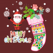 Christmas set - Santa Claus, emblems and other decorative elements. Vector illustration. — Stock Vector #73847333