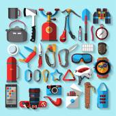 Camping climbing equipment - a number of illustrations of the icon — Stock Vector