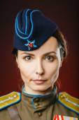 Historical reenactment of soviet union army by pretty woman — Stock Photo