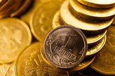 Russian coins toned in gold isolated on white — Stock Photo