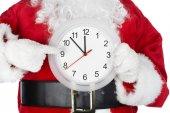 Noel Noel Baba ile bir masa saati — Stok fotoğraf