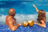 Couple in jacuzzi — Stock Photo