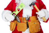 Santa Claus with a tool belt. — Stock Photo