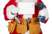 Santa Claus con un cinturón de herramientas. — Foto de Stock