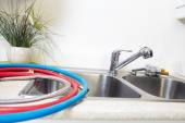 Kitchen Water tap and sink. — Stock Photo