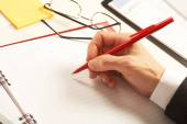 Businesswoman working with documents — Stock Photo