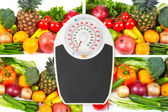 Scales and collection fruits and vegetables — Stock Photo