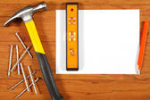 Construction tools on the wooden floor — Stock Photo