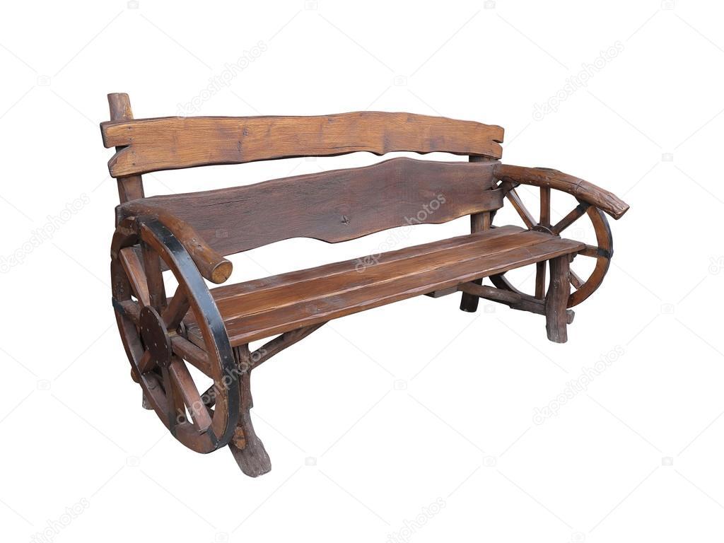 Banco de jardim artesanal de madeira com decoração de roda de  #885B43 1024x768