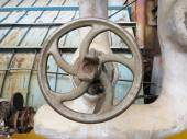 Old rusty industrial pipe valve for hot water at power plant — Stock Photo