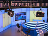 TV NEWS studio with light equipment ready for recording — Stock Photo