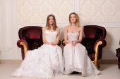Portrait of beautiful two  brides  — Стоковое фото