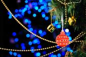 Christmas decorations on bright background — Stock Photo