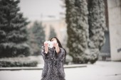 Winter portrait of Beauty girl with snow — Stock Photo