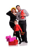 A  happy family on white background — Stock Photo