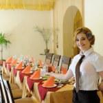 The waiter in the restaurant — Stock Photo #71983781