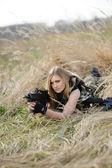 Beautiful army girl  with guns — Stock Photo