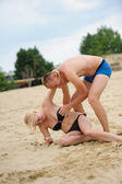 Young man and woman having fun — Stock Photo