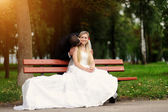 Happy bride and groom on their wedding — Stock Photo