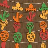 Mexican bunting decoration — Vetorial Stock