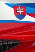 Slovenian flag on race car — Stockfoto