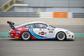 Porsche 911 at full speed during the supercar challenge — Stock Photo