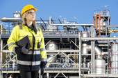 Petrochemical plant operator with tablet — Foto Stock