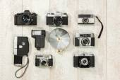 Vintage cameras with flash — Foto Stock