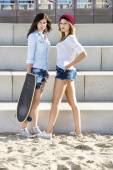 Confident Skaters On Beach — Stok fotoğraf