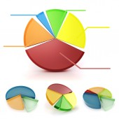 3d colorful business graph set, on white background — Stock Photo