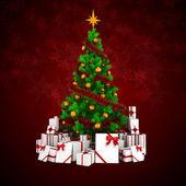3d hermoso árbol de navidad con adornos sobre fondo blanco — Foto de Stock