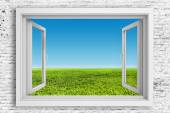 3d window frame with beautiful blue sky background — Photo