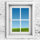 3d window frame with beautiful blue sky background — Stock Photo