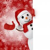 3d happy snowman with santa hat behind a blank board  on snowflakes background — Стоковое фото