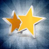 3d - Two gold stars on blue gradient  background — Stock Photo