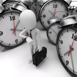 3d man businessman and alarm clocks on white background — Stock Photo #61858587
