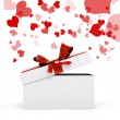 3d heart shape  box and bow on white background — Stock Photo #62970565