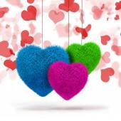 Corações fofas coloridas 3D — Fotografia Stock