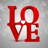 3d red LOVE text — Stockfoto